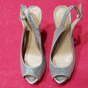 Aldo silver super glittery high heels